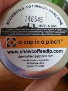 Ingredients list from Cowboy Coffee Chew