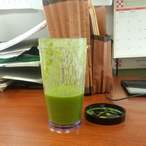 Spinach, banana, strawberry, Raw brand Protein powder.